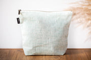 janegee Large Mint Linen Cosmetic Bag