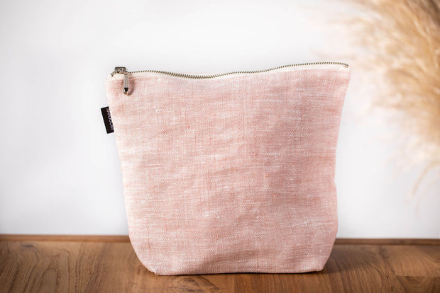 janegee Large Rosa Linen Cosmetic Bag