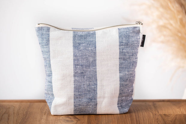 janegee Large Dark Blue Linen Cosmetic Bag