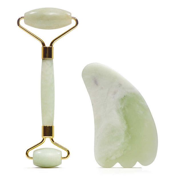Earth's Element Jade Facial Roller and Gua Sha Set