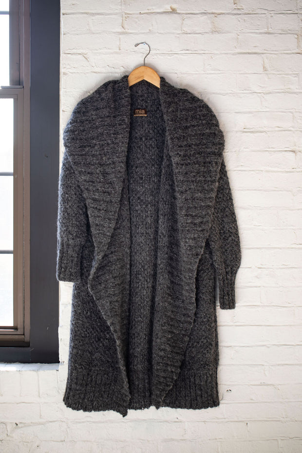 mia Peru Flor Coat in Dark Grey & Black