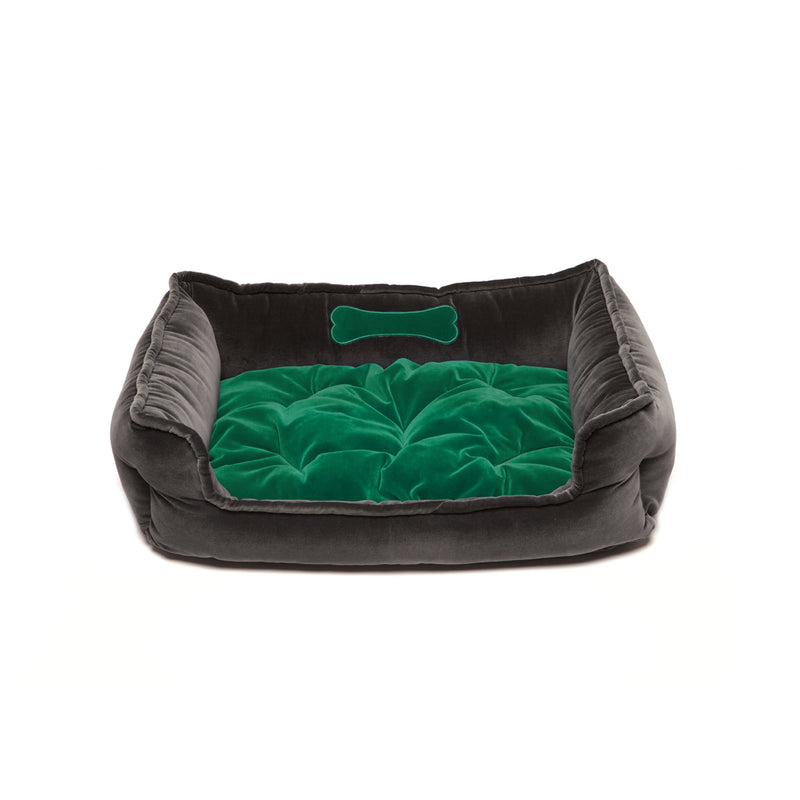 Monogramm Medium Square Dog Bed Grey-Green