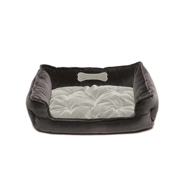 Monogramm Medium Square Dog Bed Grey-Silver Grey