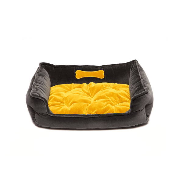 Monogramm Medium Square Dog Bed Grey-Yellow