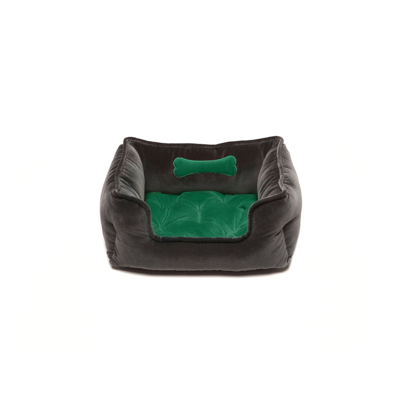 Monogramm Small Square Dog Bed Grey-Green