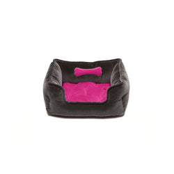 Monogramm Small Square Dog Bed Grey-Pink