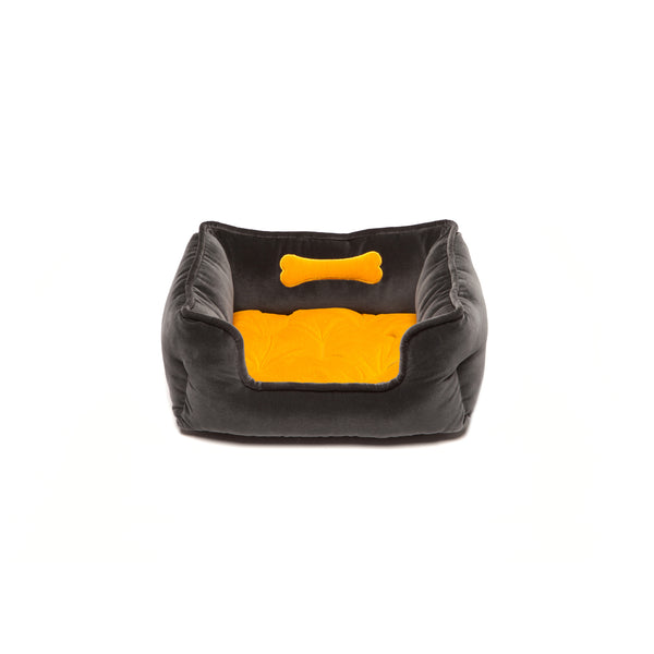 Monogramm Small Square Dog Bed Grey-Yellow