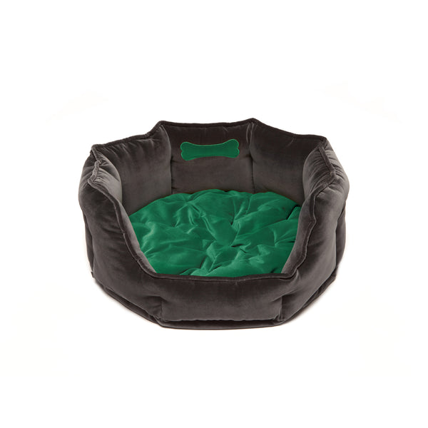 Monogramm Medium Round Dog Bed Grey-Green