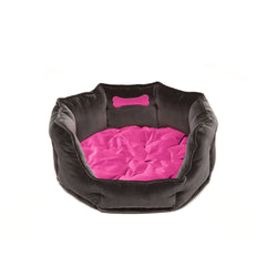 Monogramm Medium Round Dog Bed Grey-Pink