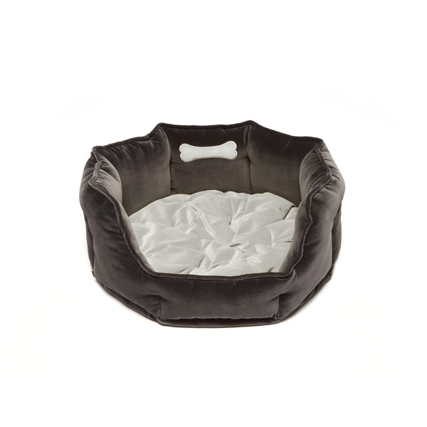 Monogramm Medium Round Dog Bed Grey-Silver Grey