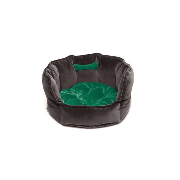 Monogramm Small Round Dog Bed Grey-Green