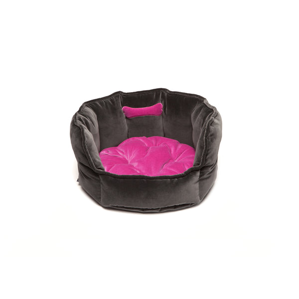 Monogramm Small Round Dog Bed Grey-Pink
