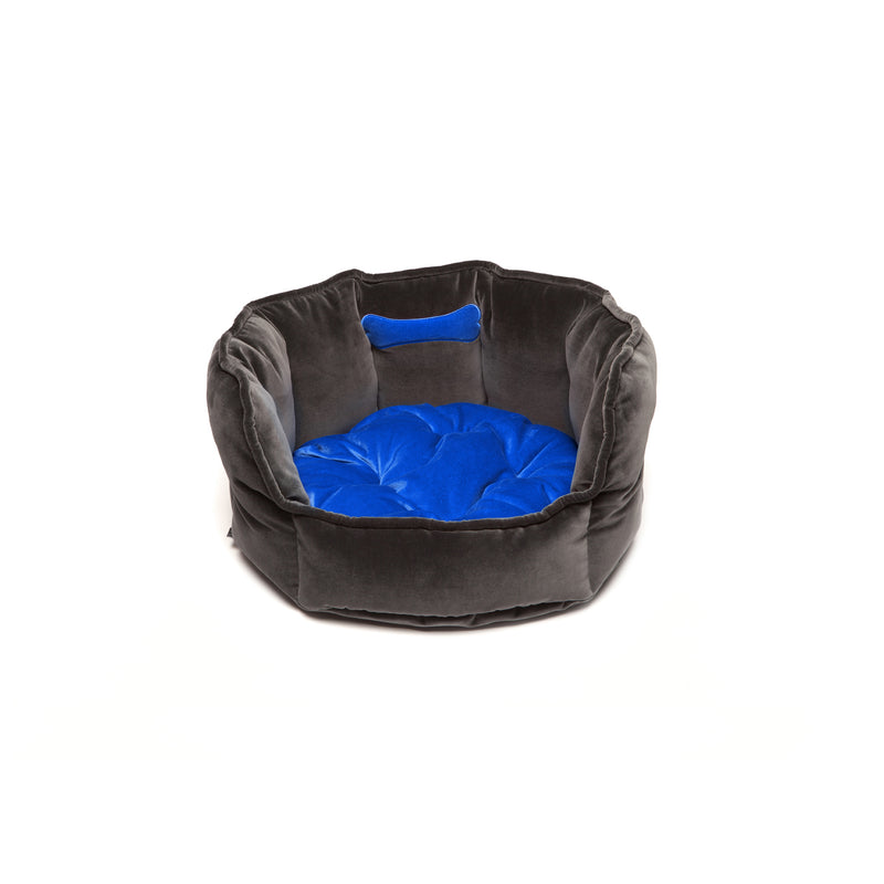 Monogramm Small Round Dog Bed Grey-Blue