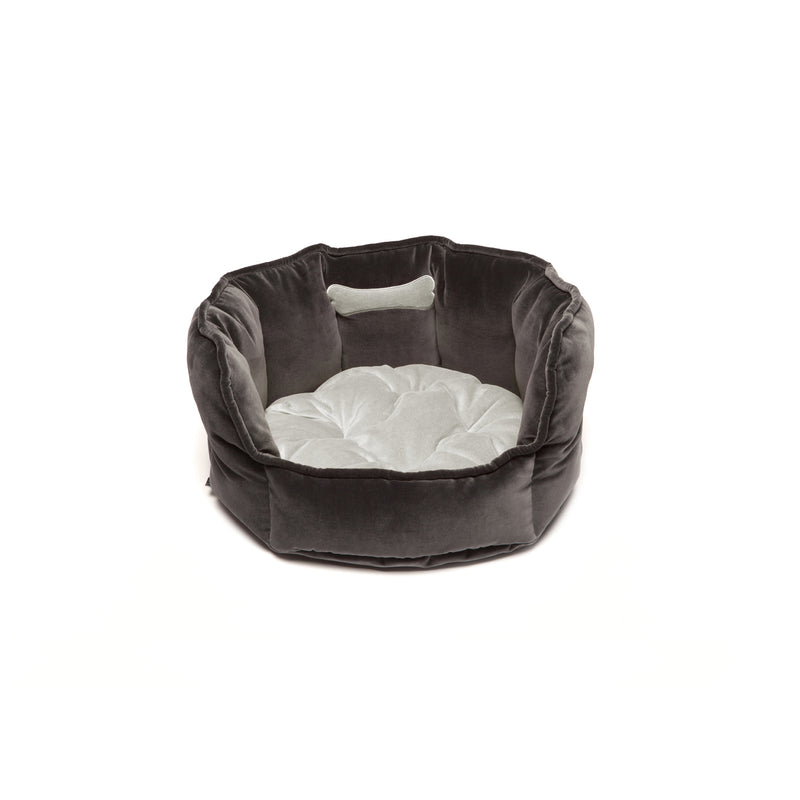 Monogramm Small Round Dog Bed Grey-Silver Grey