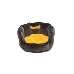 Monogramm Small Round Dog Bed Grey-Yellow