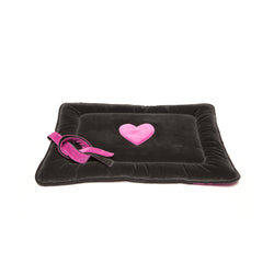 Monogramm Medium Dog Travel Bed Grey-Pink