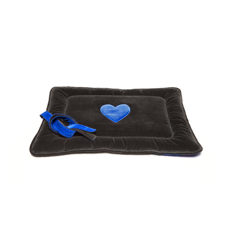 Monogramm Medium Dog Travel Bed Grey-Blue