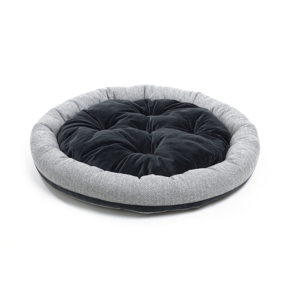 Marble Medium Round Dog Bed Light Grey-Grey