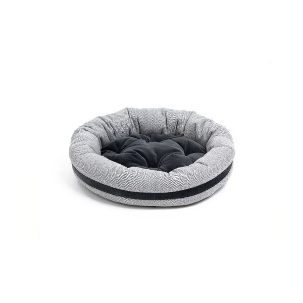 Marble Small Round Dog Bed Light Grey-Grey