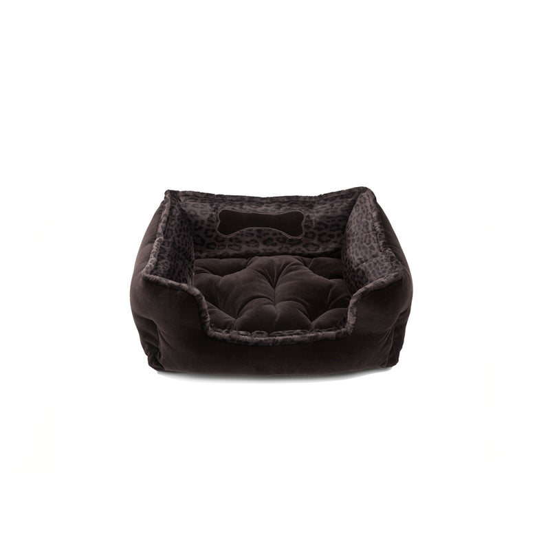 Chocolate Small Square Dog Bed Dark Brown