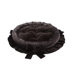Chocolate Medium Round Dog Bed Dark Brown