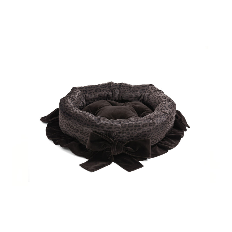 Chocolate Small Round Dog Bed Dark Brown