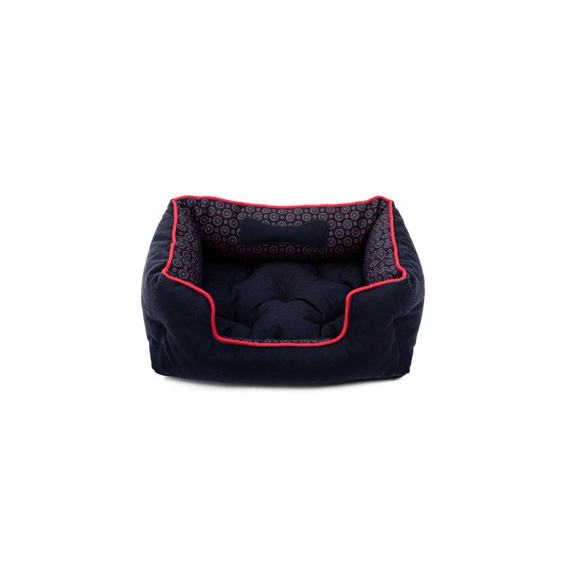 Florentine Small Square Dog Bed Navy-Red