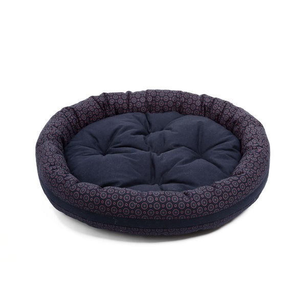 Florentine Medium Round Dog Bed Navy-Red
