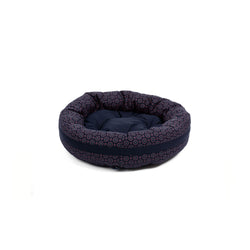 Florentine Small Round Dog Bed Navy-Red