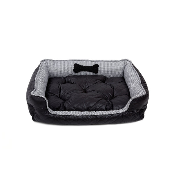 Moon Medium Square Dog Bed Black-White