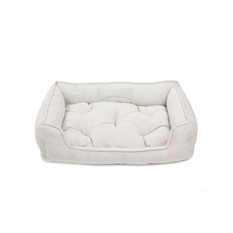 Caramel Medium Square Dog Bed Beige-Offwhite