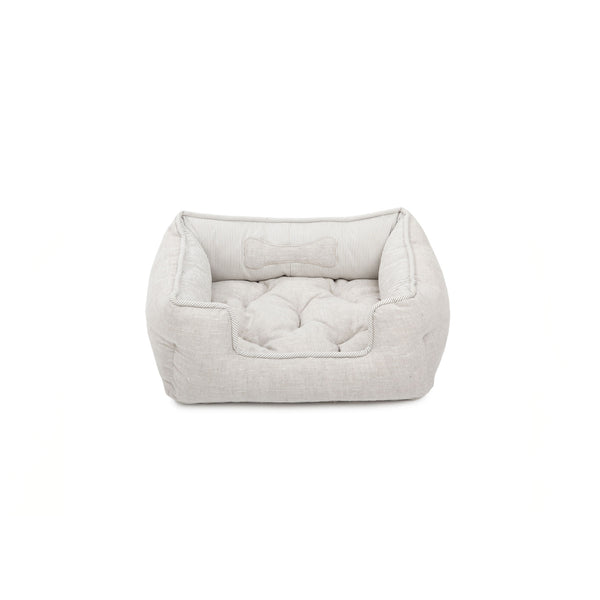 Caramel Small Square Dog Bed Beige-Offwhite