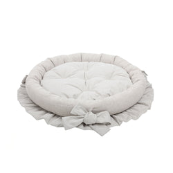 Caramel Medium Round Dog Bed Beige-Offwhite