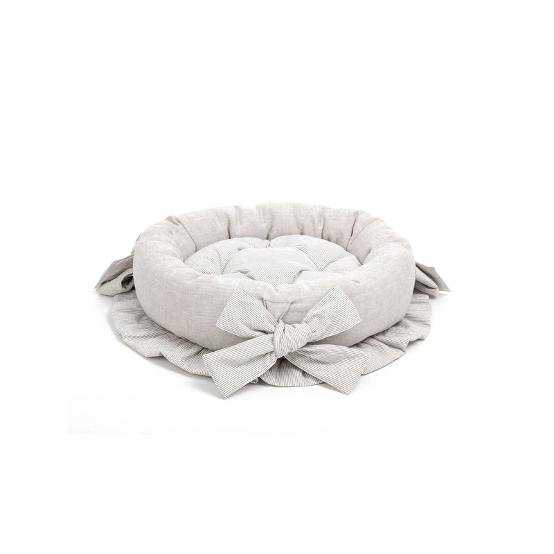Caramel Small Round Dog Bed Beige-Offwhite
