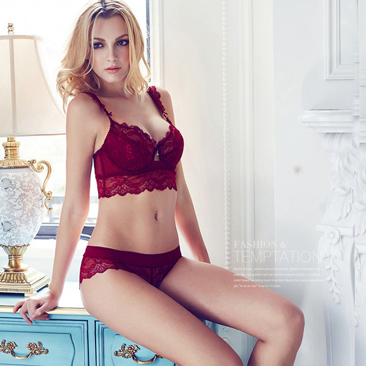 Sexy lace wine bra set