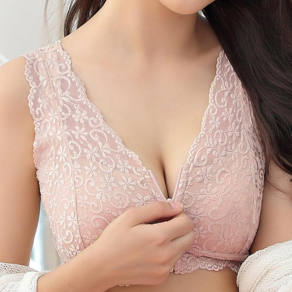 Lace Zip Front Wireless Full Cup Cotton Lining Bra