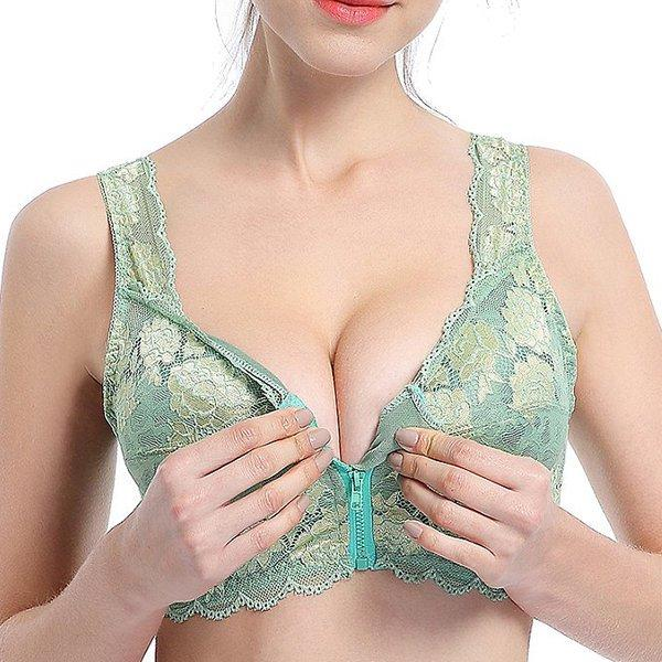 5XL Plus Size Zip Front Wireless Embroidery Lace Bra