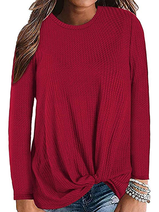 Womens Waffle Knit Twist Knot Pullover Tops Loose Fitting Plain Shirts - Allurstyle