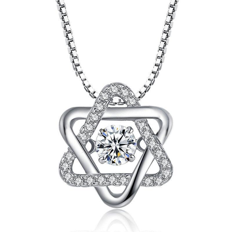【BLACK FRIDAY Sales】 50% Off 925 Sterling Silver Dancing Heart Hexagram Necklace