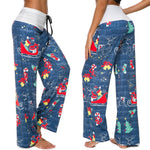 Christmas Printed Wide-Leg Pants