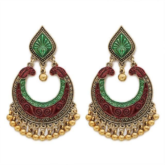 INDIAN TRIBAL BRASS DROP EARRINGS - Allurstyle