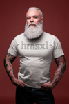 Older man wearing a white hmsxl T-Shirt