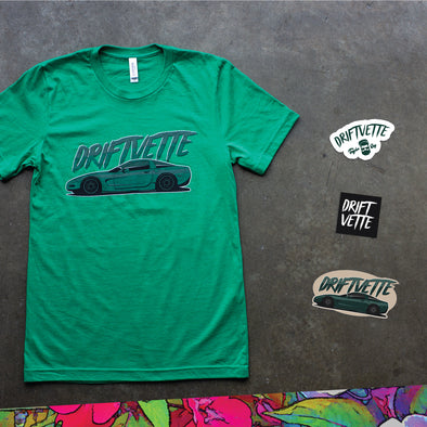 taylor ray's driftvette giveaway illustrated t-shirt bundle showing a heather kelly green bella 3001 t-shirt screen printed with a full color corvette across the chest