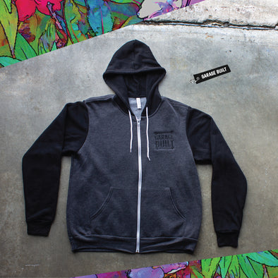 3739 soft zip up hoodie embroidered with taylor ray's garage built design over the left chest using black thread