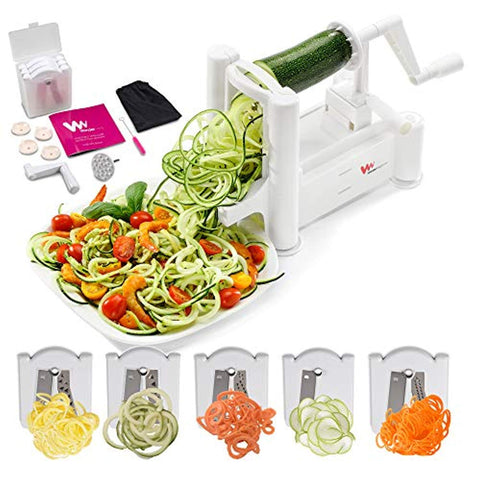 Strongest and Heaviest 5-Blade Vegetable Spiralizer, Best Zoodle Maker, Fruit Slicer & Zucchini Spaghetti Maker