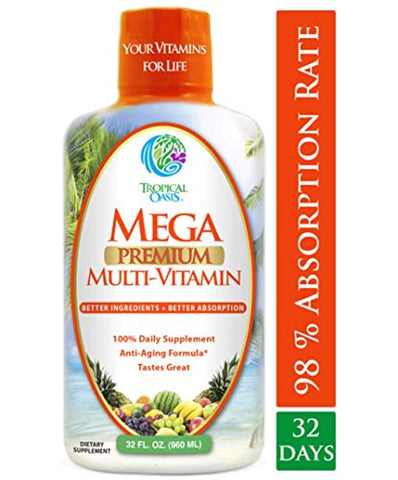 Mega Premium Liquid Multivitamin -Natural Anti Aging Multi-Vitamin w/20 Vitamins, 70 Minerals, 21 Amino Acids, CoQ10 & Organic Aloe Vera- Orange Flavor- 98%...