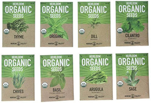 Mountain Valley Seed Company Organic, Heirloom, Non-GMO, Herb Garden Seeds – 8 Variety Kitchen Herbal Gardening Assortment - Arugula, Basil, Chives, Cilantro, Dill, Oregano, Sage, Thyme