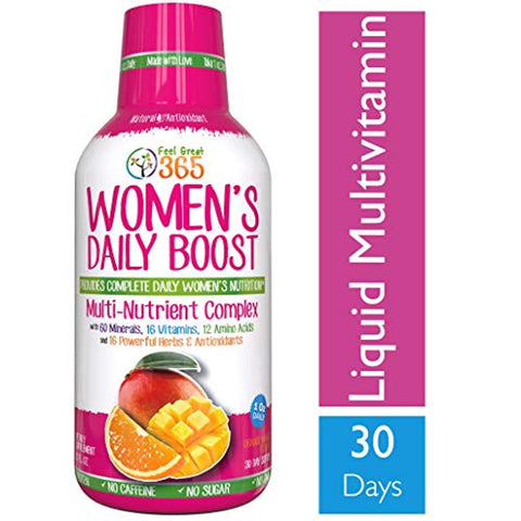 Women's Liquid Superfood Multivitamin by Feel Great 365 | Woman Vitamins with 60 Minerals, 16 Vitamins, 12 Amino Acids, 16 Herb & Antioxidants ● #1 Best Tasting Paleo...