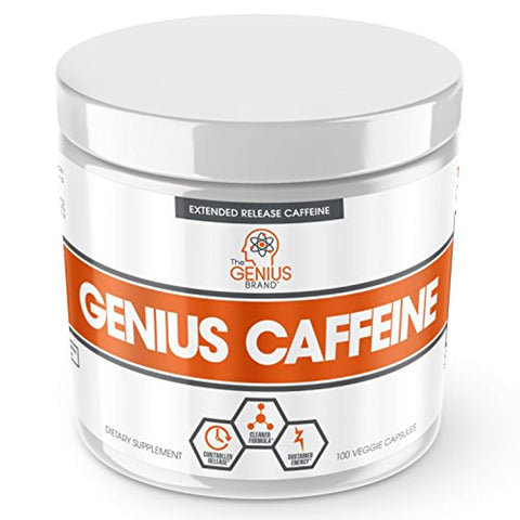 GENIUS CAFFEINE – Extended Release Microencapsulated Caffeine Pills, All Natural Non-Crash Sustained Energy & Focus Supplement –Preworkout & Nootropic Brain...