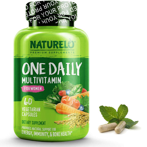 NATURELO One Daily Multivitamin for Women - Best for Hair, Skin, Nails - Natural Energy Support - Whole Food Supplement - Non-GMO - No Soy - Gluten Free -